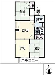 パレスミルキーウェイ[2階]の間取り