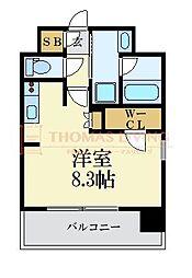 LANDIC 美野島3丁目 13階ワンルームの間取り