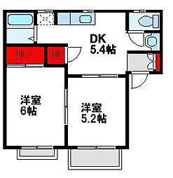 福岡県福津市西福間2丁目の賃貸アパートの間取り