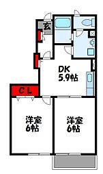 サンシャインコート B棟[1階]の間取り
