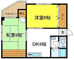 ロイヤルメゾン長吉[2階]の間取り