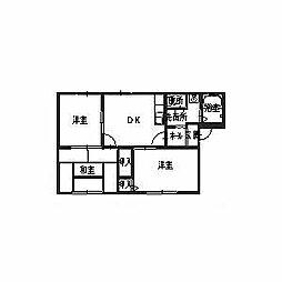 プレドール深井[1階]の間取り