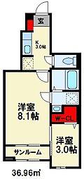 JR筑豊本線 飯塚駅 徒歩9分の賃貸アパート 1階1SKの間取り