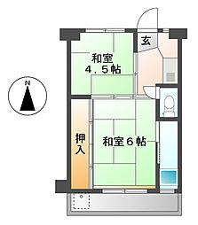 愛知県北名古屋市鹿田清井古の賃貸マンションの間取り