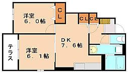 Rグレィ イイヅカ チュウオウ[1階]の間取り