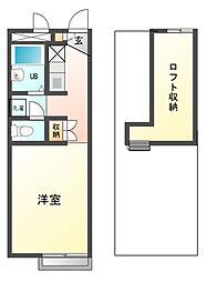 兵庫県姫路市下手野6丁目の賃貸アパートの間取り