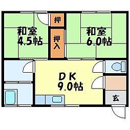 コーポ松尾A[202号室]の間取り