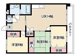 ファミールT・J[4階]の間取り
