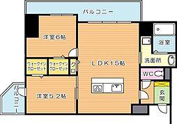 福岡県北九州市八幡西区西神原町の賃貸マンションの間取り