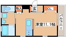 JR東海道・山陽本線 六甲道駅 徒歩4分の賃貸マンション 1階ワンルームの間取り