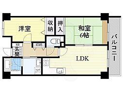 南海高野線 初芝駅 徒歩8分の賃貸マンション 2階2LDKの間取り