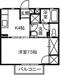 JR宇野線 茶屋町駅 徒歩30分の賃貸アパート 2階1Kの間取り