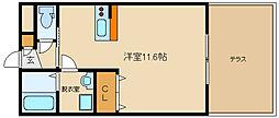 近鉄南大阪線 古市駅 徒歩3分の賃貸アパート 1階1Kの間取り