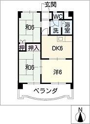 愛知県豊橋市船町の賃貸マンションの間取り