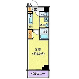 東京メトロ東西線 門前仲町駅 徒歩9分の賃貸マンション 2階1Kの間取り