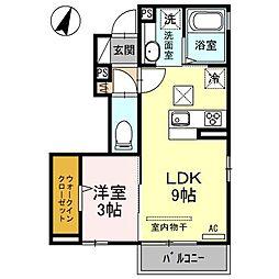 セジュール小松IIIA 1階1LDKの間取り