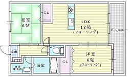 北大阪急行電鉄 緑地公園駅 徒歩2分の賃貸マンション 2階2LDKの間取り