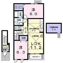 滋賀県大津市仰木の里3の賃貸アパートの間取り