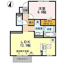 静岡県磐田市東貝塚の賃貸アパートの間取り