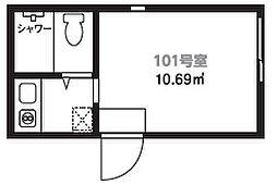 テルス渡田[101号室]の間取り