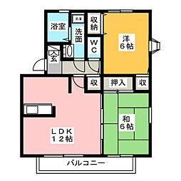 ハイカムール新居 B棟[1階]の間取り