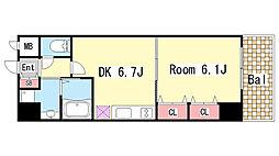 プレジール三ノ宮2[504号室]の間取り