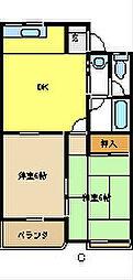 愛知県名古屋市緑区池上台3丁目の賃貸アパートの間取り