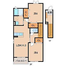 和歌山県和歌山市島の賃貸アパートの間取り