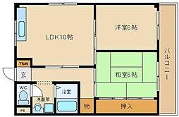 角野第6マンション[305号室]の間取り