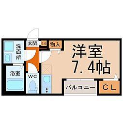 ハーモニーテラス高須賀町II 1階ワンルームの間取り