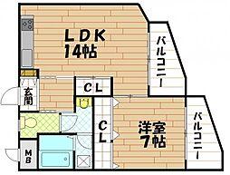 アーク八戸ノ里[6階]の間取り