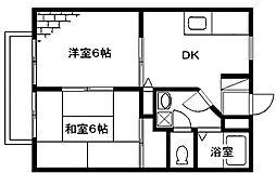 メゾンテヅカ A[201号室号室]の間取り