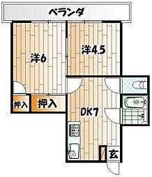 ヴィンテージ南小倉[3階]の間取り