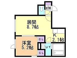 仮)恵庭市柏陽町4丁目新築AP 1階1LDKの間取り