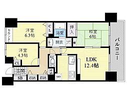 関目森小路パーク・ホームズ 10階3LDKの間取り
