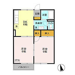 茨城県土浦市木田余東台4丁目の賃貸アパートの間取り