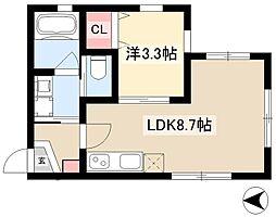 Avance名駅通 2階1LDKの間取り