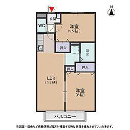 クオリア B[1階]の間取り