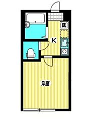 JR中央本線 国分寺駅 徒歩15分の賃貸アパート 2階1Kの間取り
