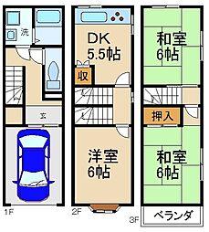 [テラスハウス] 大阪府寝屋川市緑町 の賃貸【/】の間取り