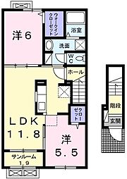新潟県新潟市北区早通の賃貸アパートの間取り