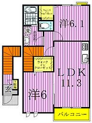 アンソレイユAB[2階]の間取り