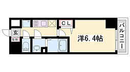 プレサンス神戸キュリオ 3階1Kの間取り