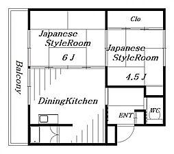 ビレッジハウス検見川 4号棟[3階]の間取り