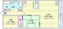 錦町チサンマンション 5階2LDKの間取り