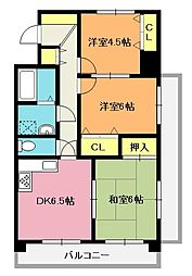 ビブレYANAI[3階]の間取り