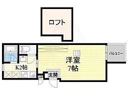 阪急千里線 下新庄駅 徒歩5分の賃貸アパート 2階1Kの間取り