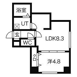 札幌市電2系統 行啓通駅 徒歩4分の賃貸マンション 5階1LDKの間取り