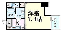 プレサンス谷町キャトル 7階1Kの間取り