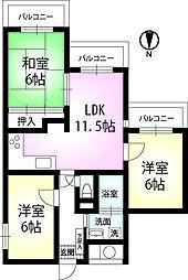 東京都杉並区高井戸東3丁目の賃貸マンションの間取り